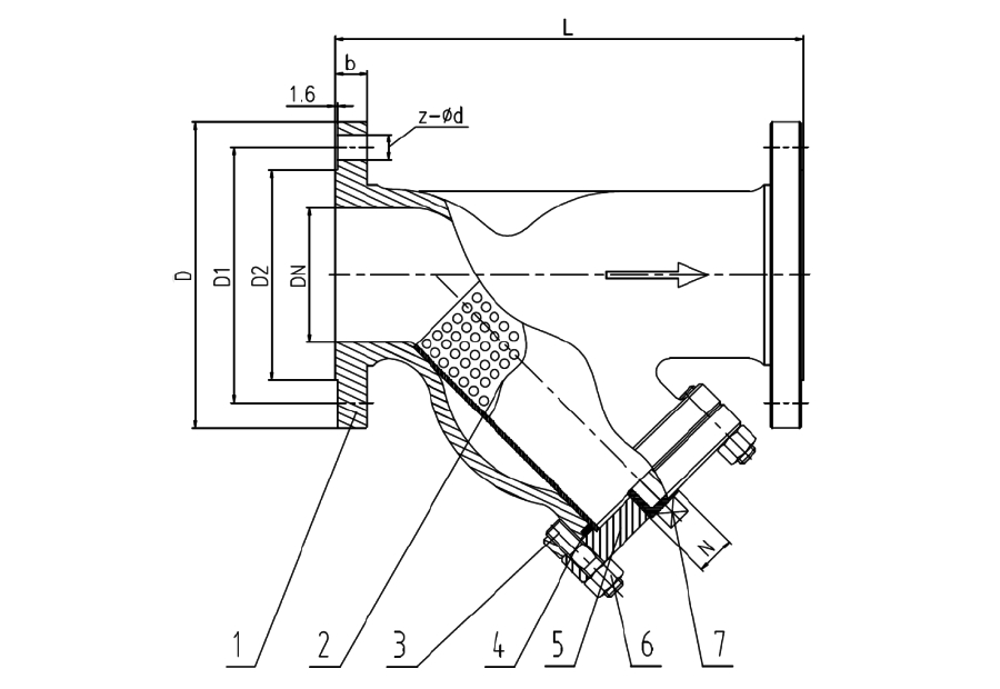 JIS 10K Flanged End Y Strainer Drawing