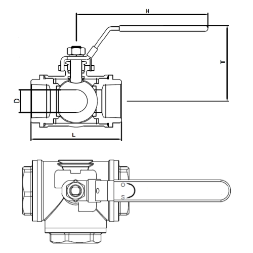 3 Way Ball Valve T-Port Drawing