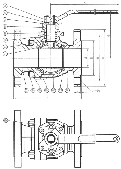 Ansi 150# Flanged End Ball Valve Drawing