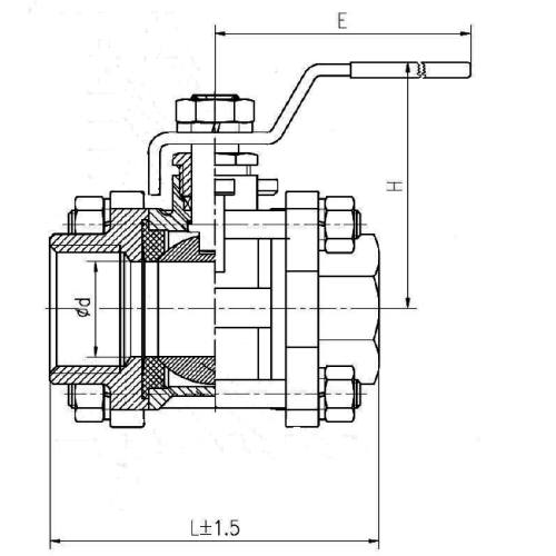 3 PC Threaded Ball Valve Drawing