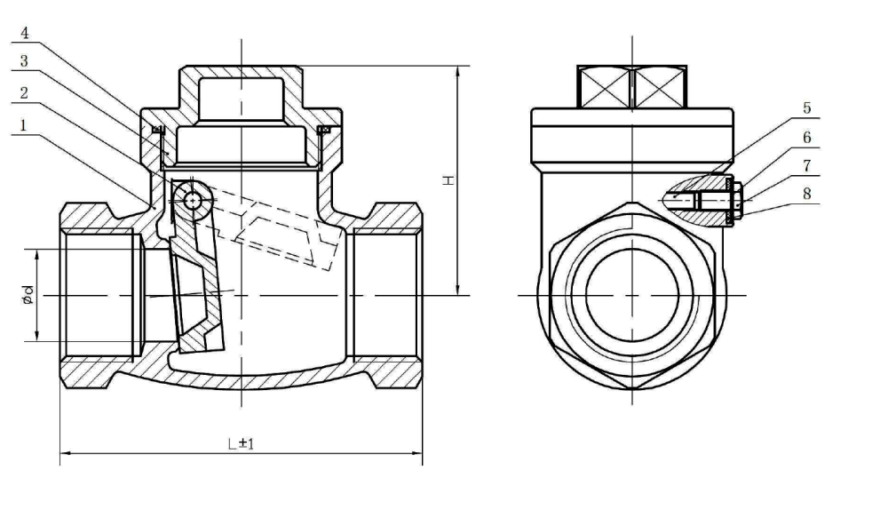 Swing Check Valves Drawing