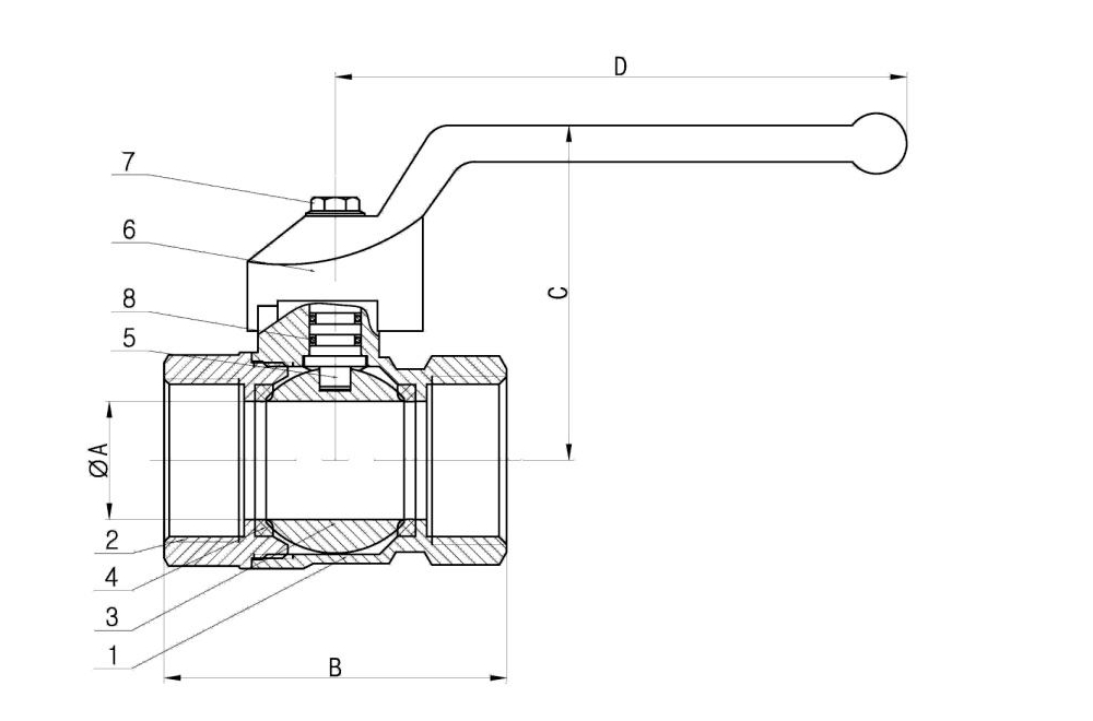 Brass Standard Ball Valve  Drawing