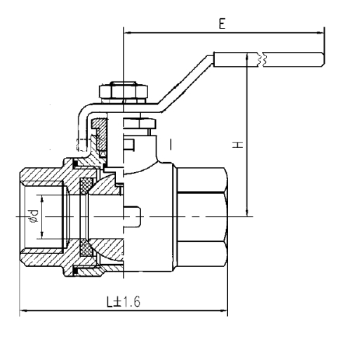 2 PC Threaded Ball Valve Drawing