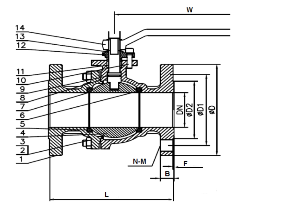 JIS 10K Flanged End Ball Valve Drawing