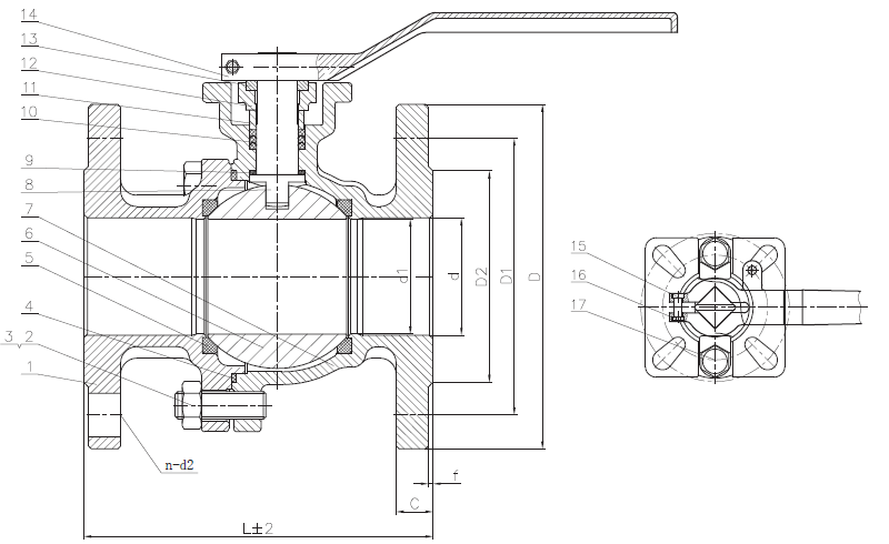 PN10/16 Flange End Ball Valve Drawing