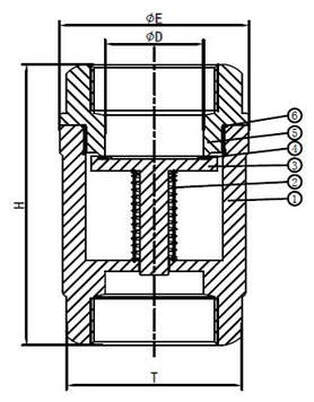Spring Check Valve Viton Seat Drawing